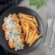 شنیسل مرغ با سس قارچ